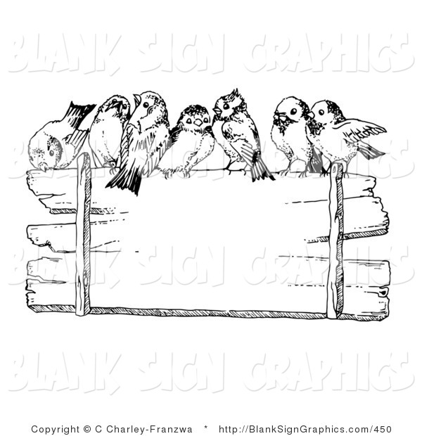 Vector Illustration of Finches Perched on Top of a Blank Wooden Sign