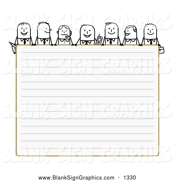 Vector Illustration of Friendly Stick People Characters Looking over Blank Lined Paper
