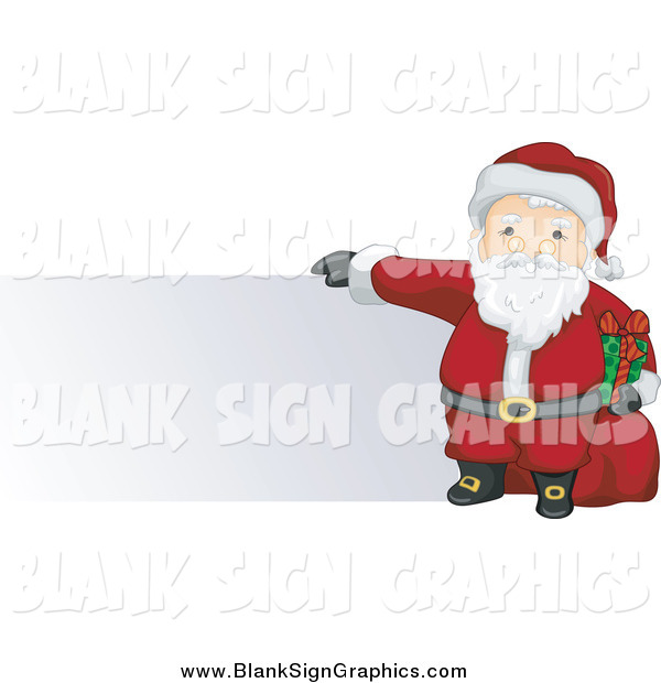 Vector Illustration of Santa Holding a Present and Toy Sack and Presenting a Blank Sign