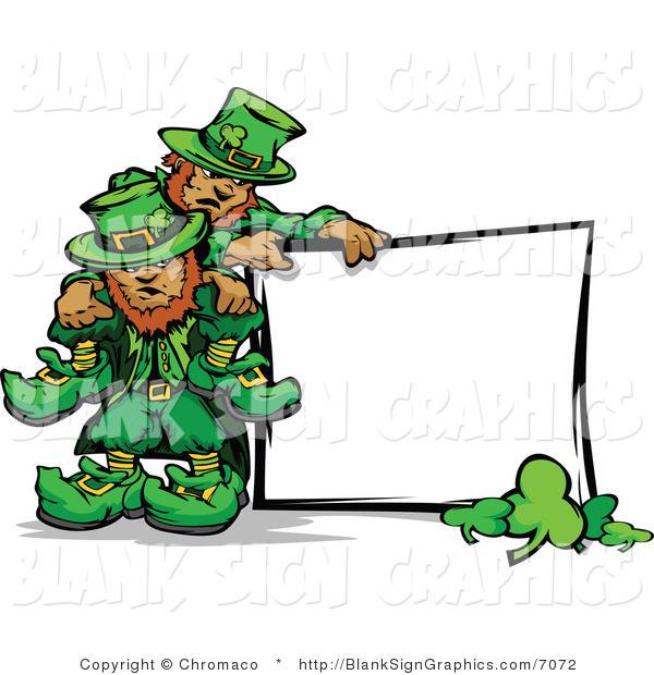 Vector Illustration of St Patricks Day Leprechauns with a Blank Sign