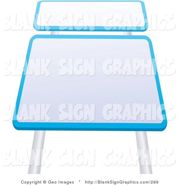 Vector Illustration of Two Blank Blue Rimmed White Road Signs