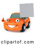 Illustration of a 3d Orange Porsche Car Character Holding a Blank Sign by Julos