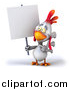 Illustration of a 3d White Rooster Holding a Sign by Julos