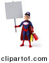 Illustration of a 3d Young White Male Super Hero Mechanic in Red and Dark Blue, Holding a Blank Sign and Carrying Shopping Bags by Julos