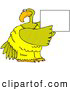 Illustration of a Friendly Large Yellow Bird Holding up a Blank Sign by Djart