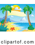 Vector Cartoon Illustration of a Banner Suspended Between Palm Trees on a Tropical Beach by Visekart