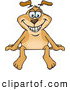 Vector Cartoon Illustration of a Smiling Sparkey Dog Sitting Atop a Blank Sign by Dennis Holmes Designs