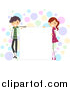 Vector Cartoon Illustration of a Stick Boy and Girl Standing by a Blank Board, over Colorful Dots by BNP Design Studio