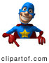 Vector Illustration of a 3d Grinning Male Star Superhero Character Pointing down at a Blank Sign by Julos