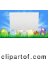 Vector Illustration of a Blank Sign Behind Easter Eggs in Grass over a Blue Sky by AtStockIllustration