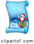 Vector Illustration of a Blue Parchment Page with Santa Surrounded by Gifts by Visekart