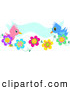 Vector Illustration of a Cute Pink and Blue Bird Couple on Flowers, with a Blue Banner by Bpearth