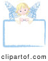 Vector Illustration of a Cute Sweet Blond Angel Girl Looking over a Blank Sign by Pushkin