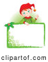 Vector Illustration of a Friendly Christmas Elf Standing Behind a Green Blank Sign by Pushkin