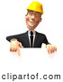 Vector Illustration of a Happy 3d Contractor Man Character Pointing down and Standing Behind a Blank Sign by Julos