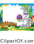 Vector Illustration of a Happy Easter Bunny Holding an Easter Egg with a Blank Sign by Visekart