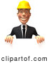 Vector Illustration of a Smiling 3d Contractor Man Character Standing Behind a Blank Sign by Julos