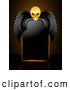 Vector Illustration of a Spooky Creepy Skull with Black Wings, Resting over a Blank Black Sign by Elaineitalia
