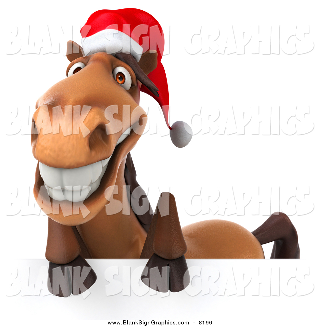 Illustration Of A 3d Happy Christmas Horse Smiling Over A Sign By Julos 8196