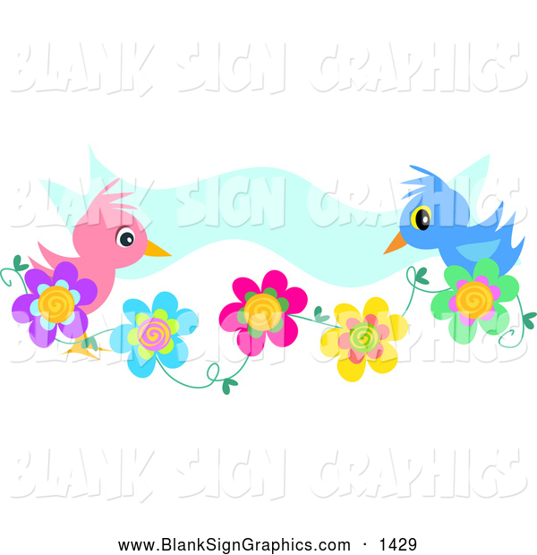 Vector Illustration of a Cute Pink and Blue Bird Couple on Flowers, with a Blue Banner