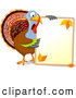 Vector Illustration of a Blue Thanksgiving Turkey Holding a Blank Autumn Sign with Text Space by Pushkin
